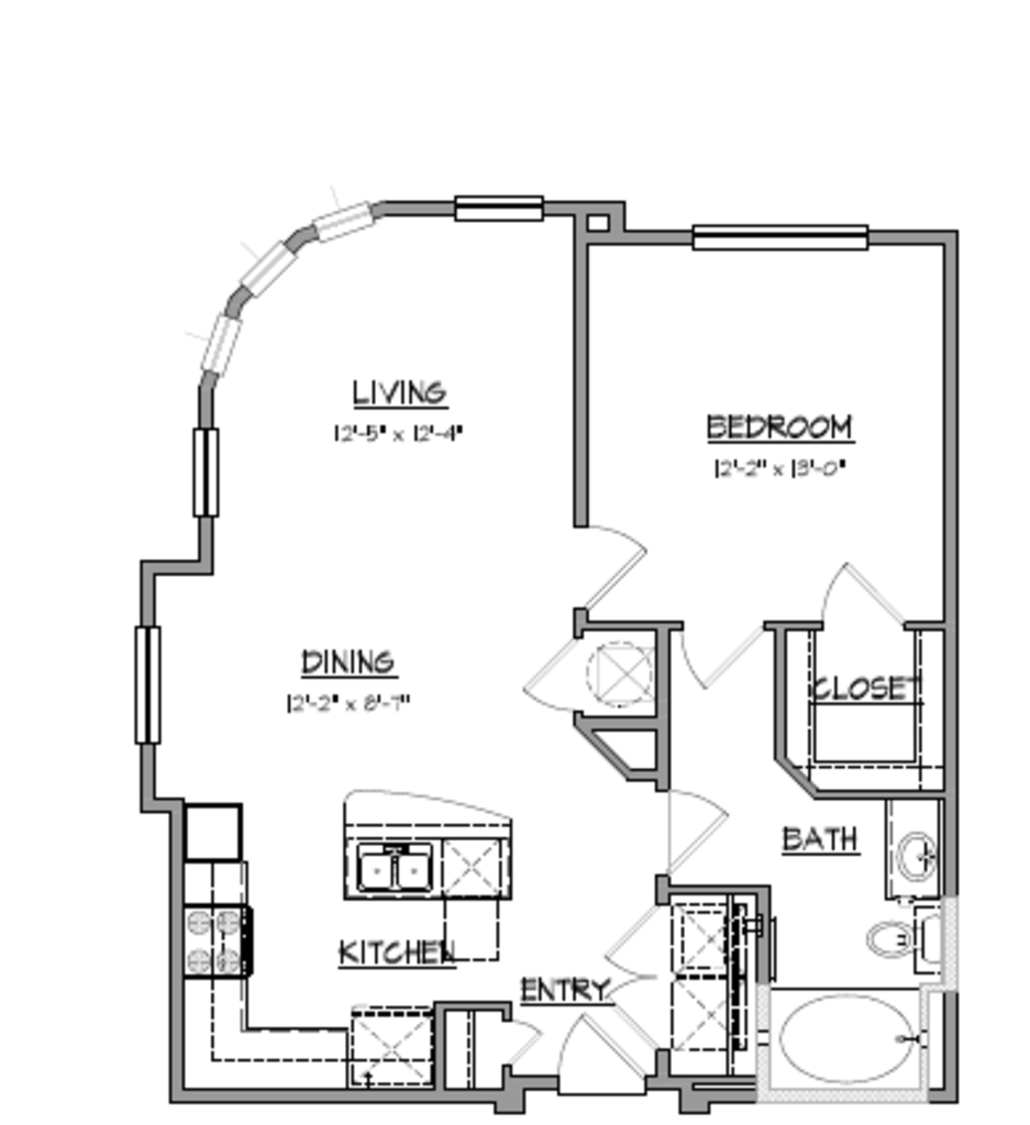 808 sq. ft. A8 floor plan