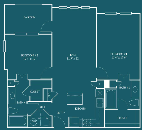 1,064 sq. ft. B3 floor plan