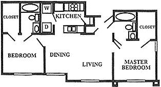 819 sq. ft. 50% floor plan
