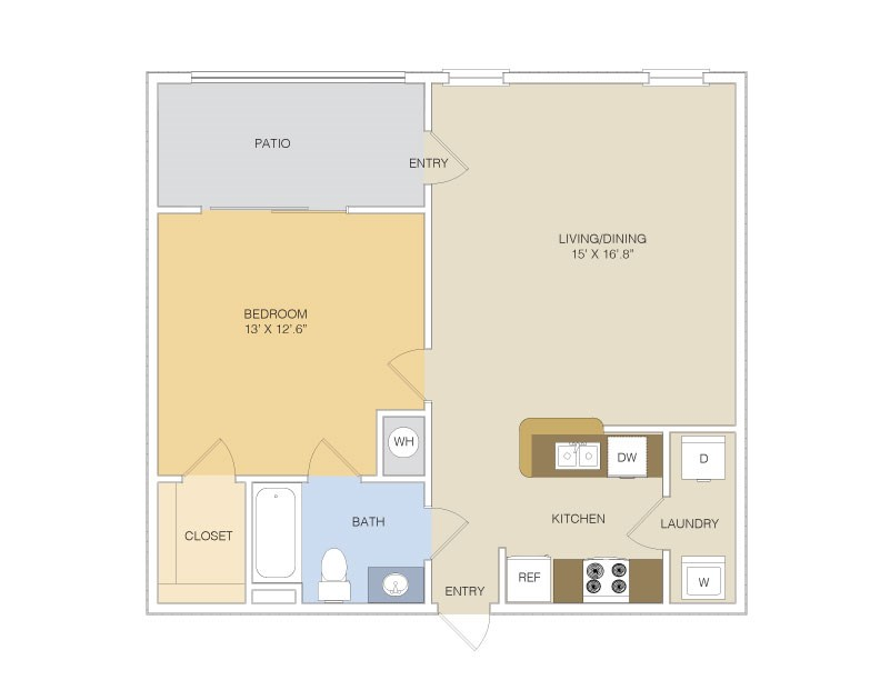 667 sq. ft. A1L/GAR floor plan
