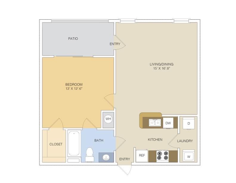 667 sq. ft. A1L/GAR floor plan