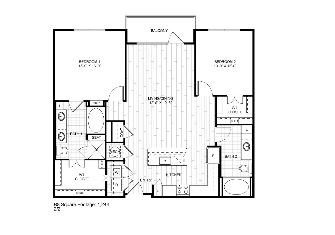 1,244 sq. ft. B8 floor plan