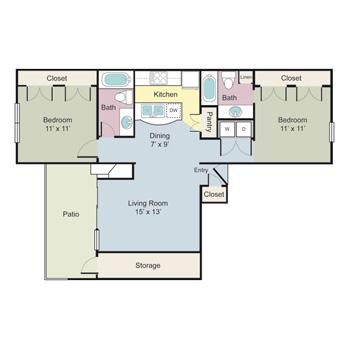 936 sq. ft. B2A floor plan