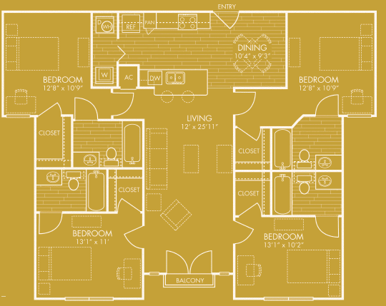 1,493 sq. ft. D floor plan