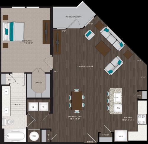 997 sq. ft. A13 floor plan