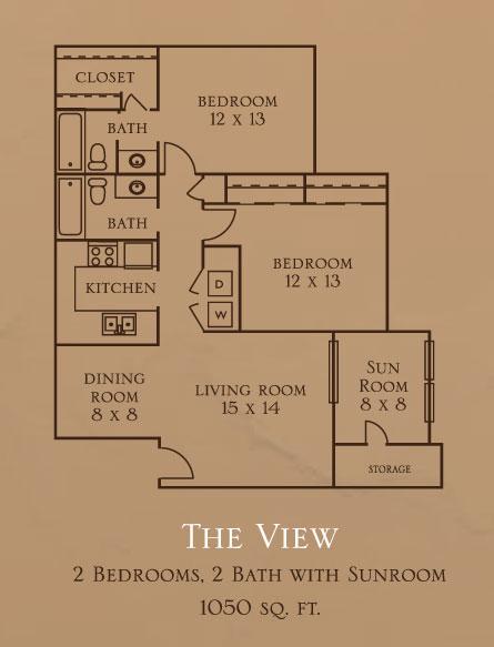 1,050 sq. ft. B1S floor plan