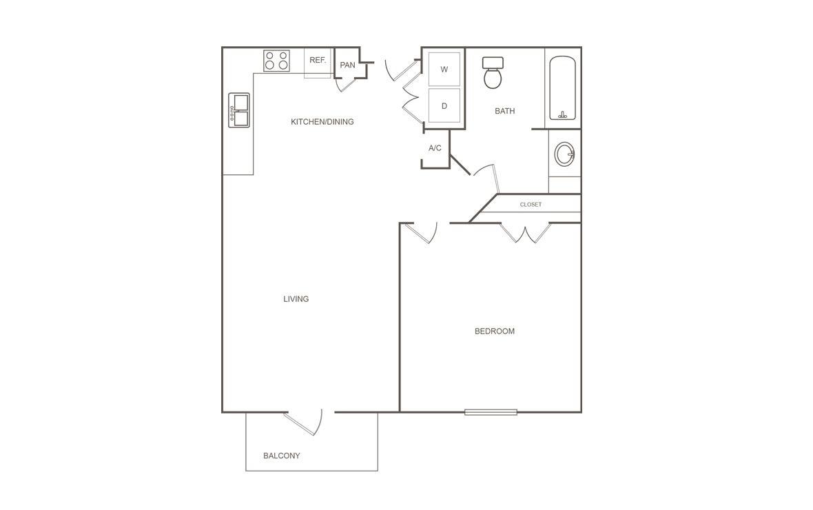 676 sq. ft. C/60% floor plan