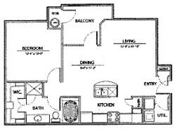 774 sq. ft. A2-Ph I floor plan