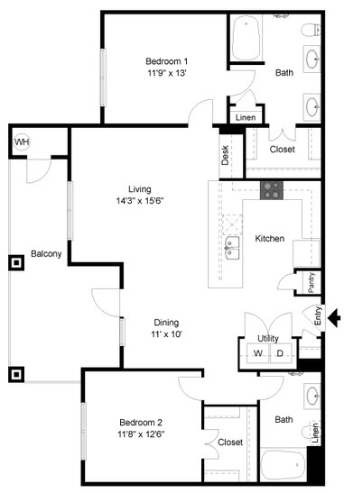 1,230 sq. ft. B6 floor plan