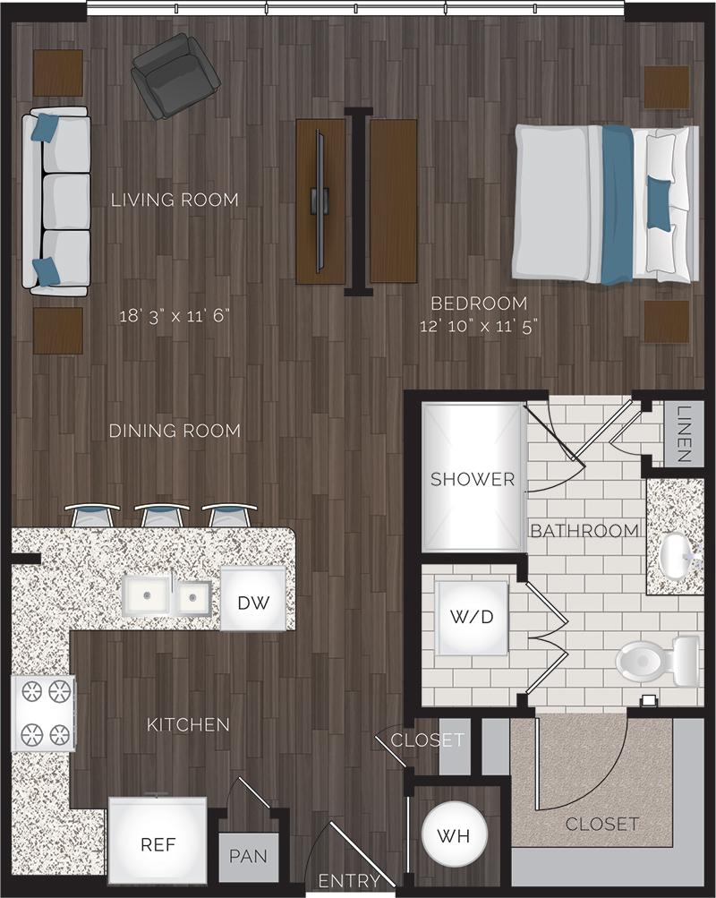 720 sq. ft. E1 floor plan