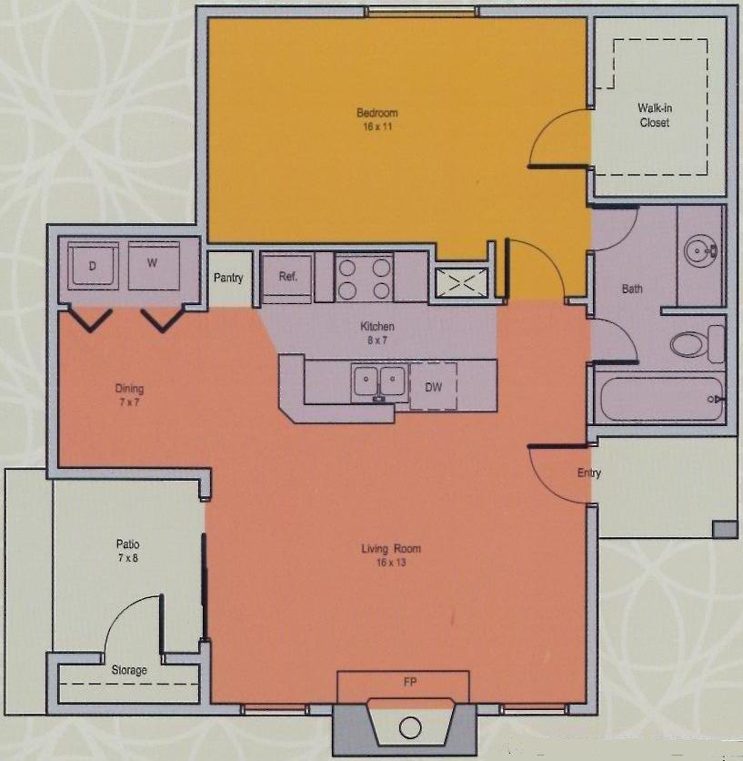 660 sq. ft. C floor plan