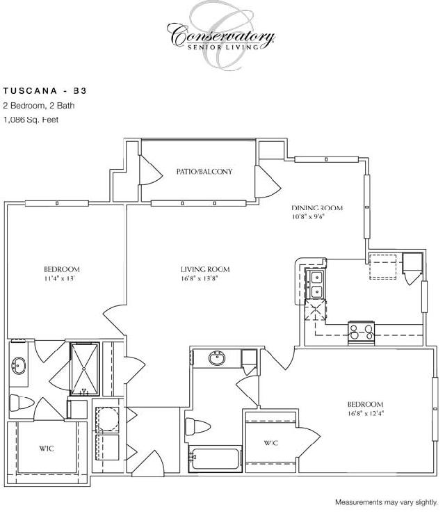 1,086 sq. ft. Tuscana floor plan