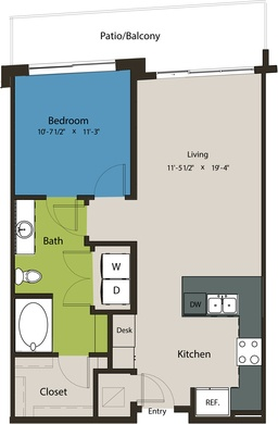 750 sq. ft. A8F-A floor plan