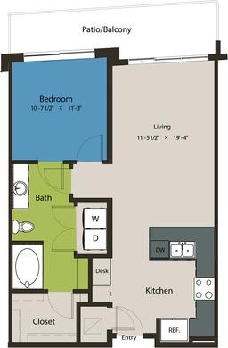 750 sq. ft. A8F-A floor plan
