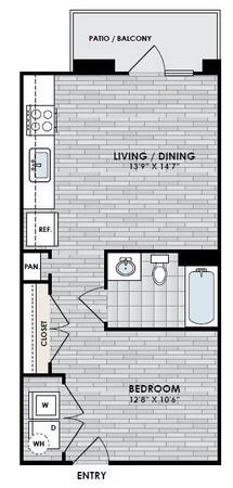 535 sq. ft. E1 floor plan