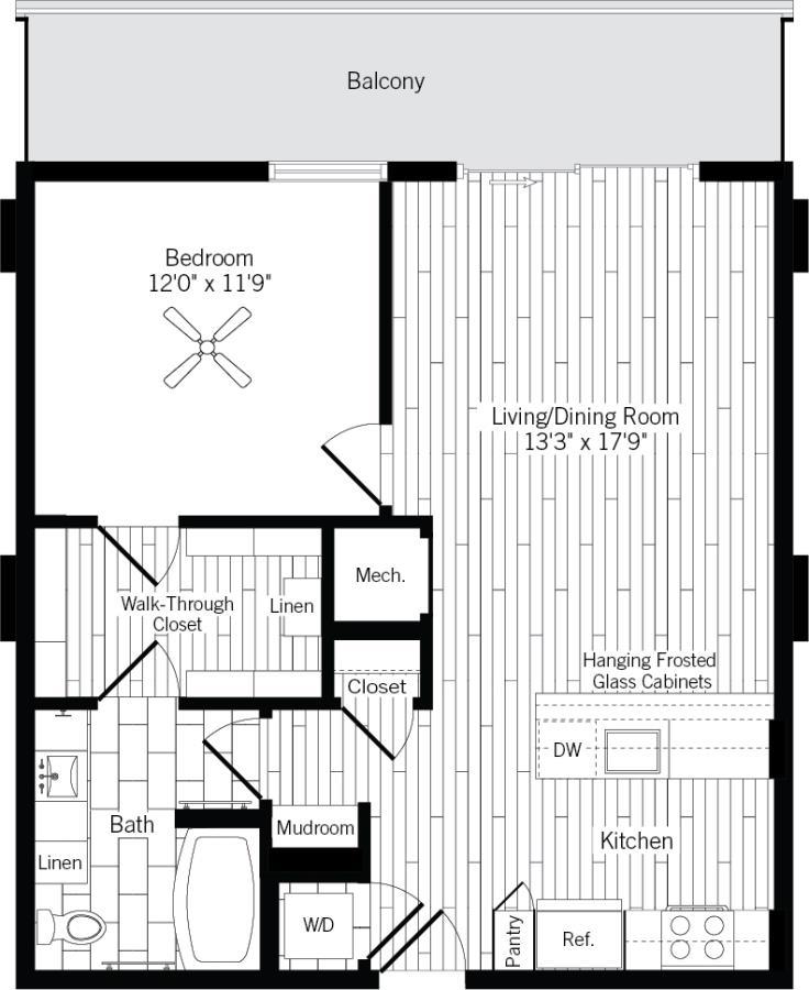 774 sq. ft. 1D-R floor plan