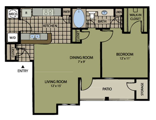 689 sq. ft. to 701 sq. ft. Augusta floor plan