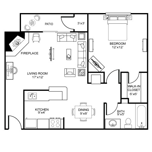 725 sq. ft. A4 floor plan