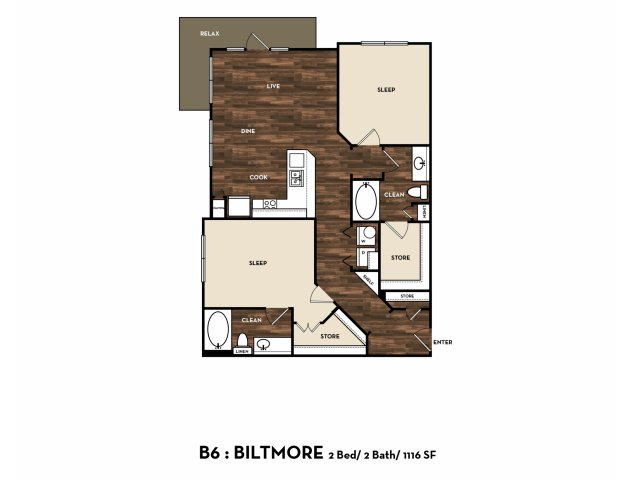 1,116 sq. ft. B6: Biltmore floor plan