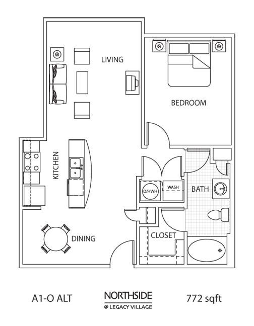 772 sq. ft. A1-0 ALT floor plan