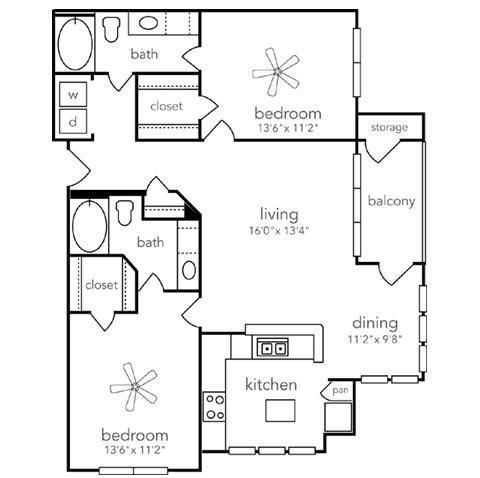 1,103 sq. ft. Pecos floor plan