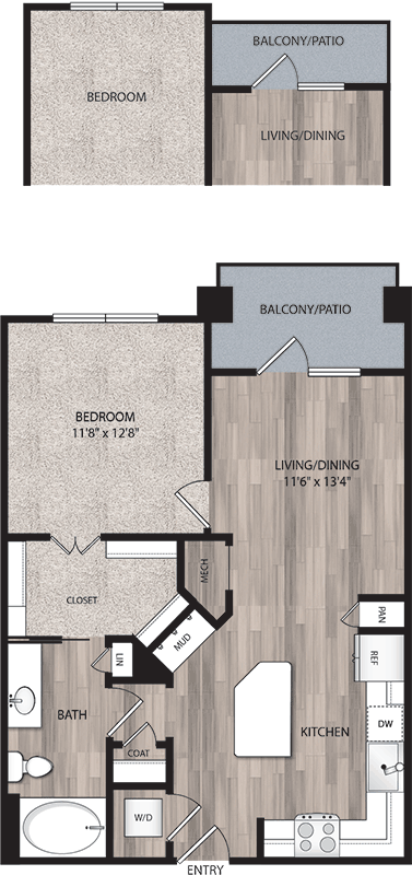 734 sq. ft. to 761 sq. ft. A2 floor plan