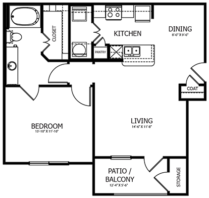 780 sq. ft. A3 floor plan