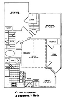940 sq. ft. C-HABERSHANE floor plan