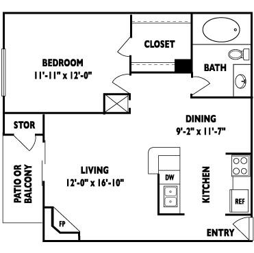724 sq. ft. D floor plan