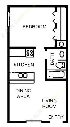482 sq. ft. 60% floor plan