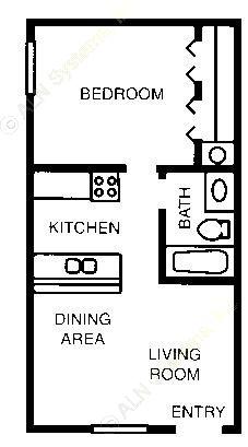 482 sq. ft. 60% floor plan