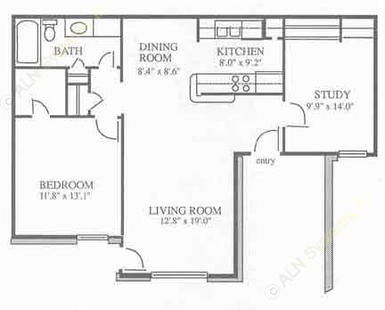 875 sq. ft. A1 floor plan