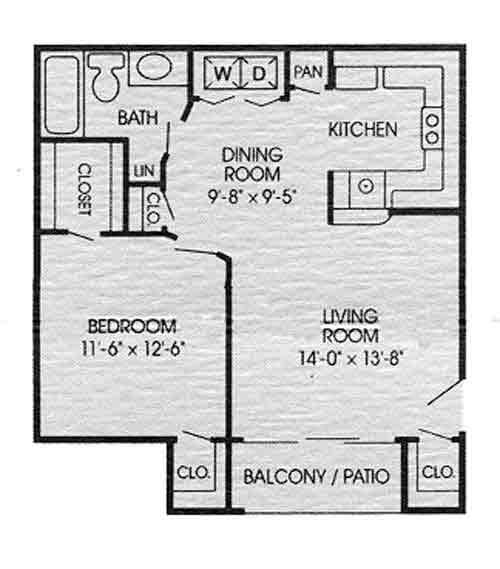 647 sq. ft. D floor plan