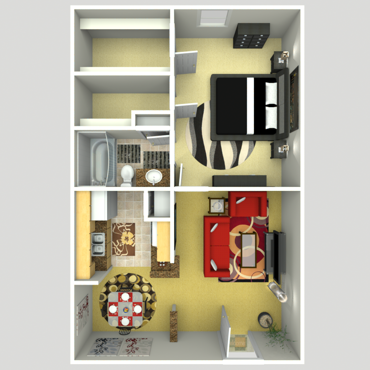 660 sq. ft. B/80% floor plan