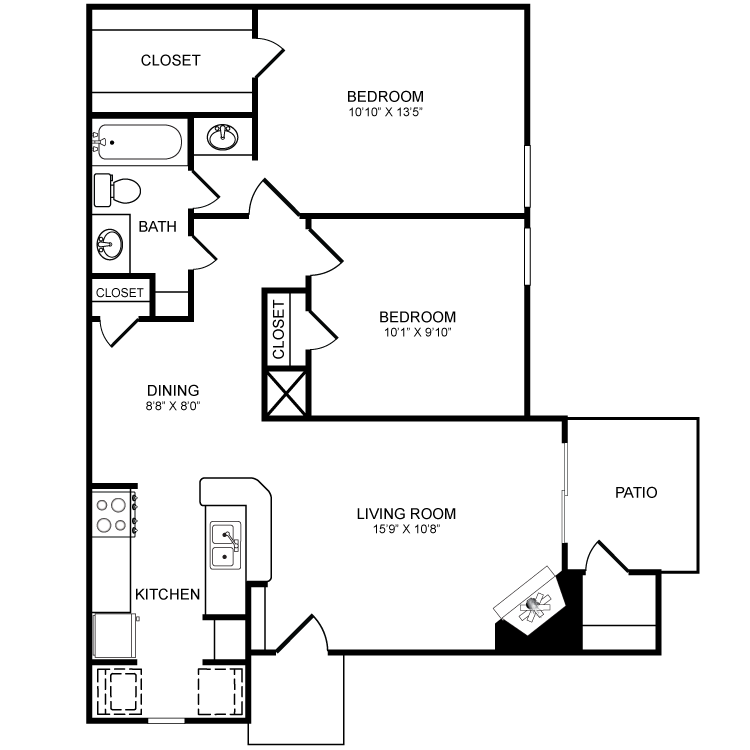 848 sq. ft. B3 floor plan
