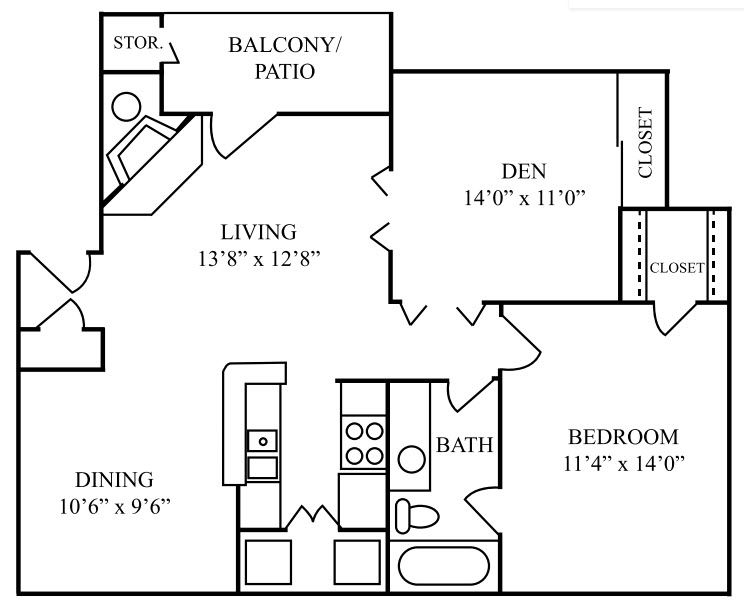 841 sq. ft. D floor plan