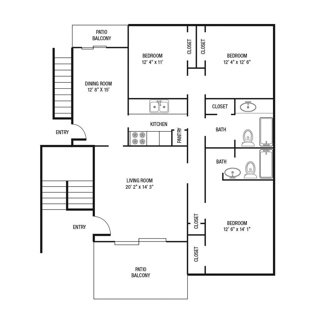 1,300 sq. ft. D floor plan