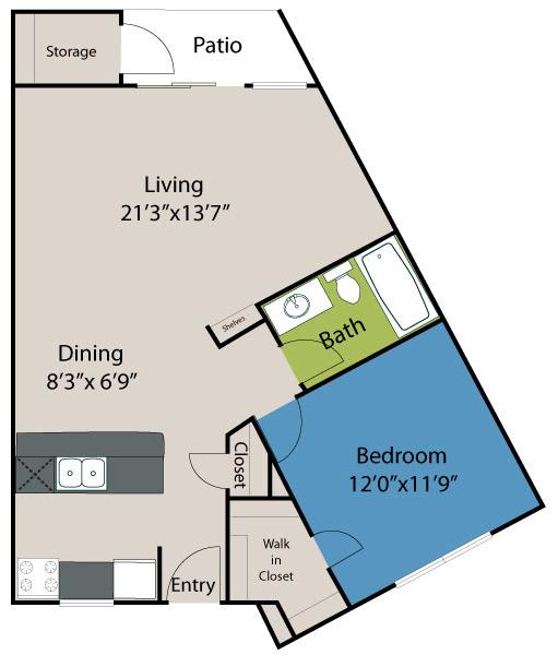 744 sq. ft. A32 Lake floor plan