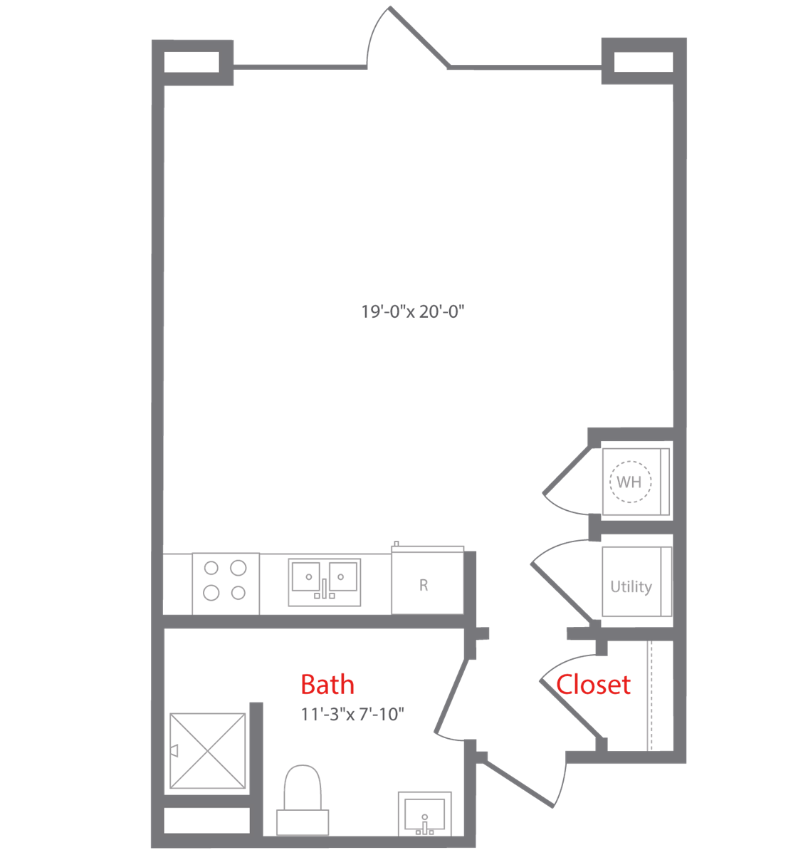 595 sq. ft. to 652 sq. ft. A1 floor plan