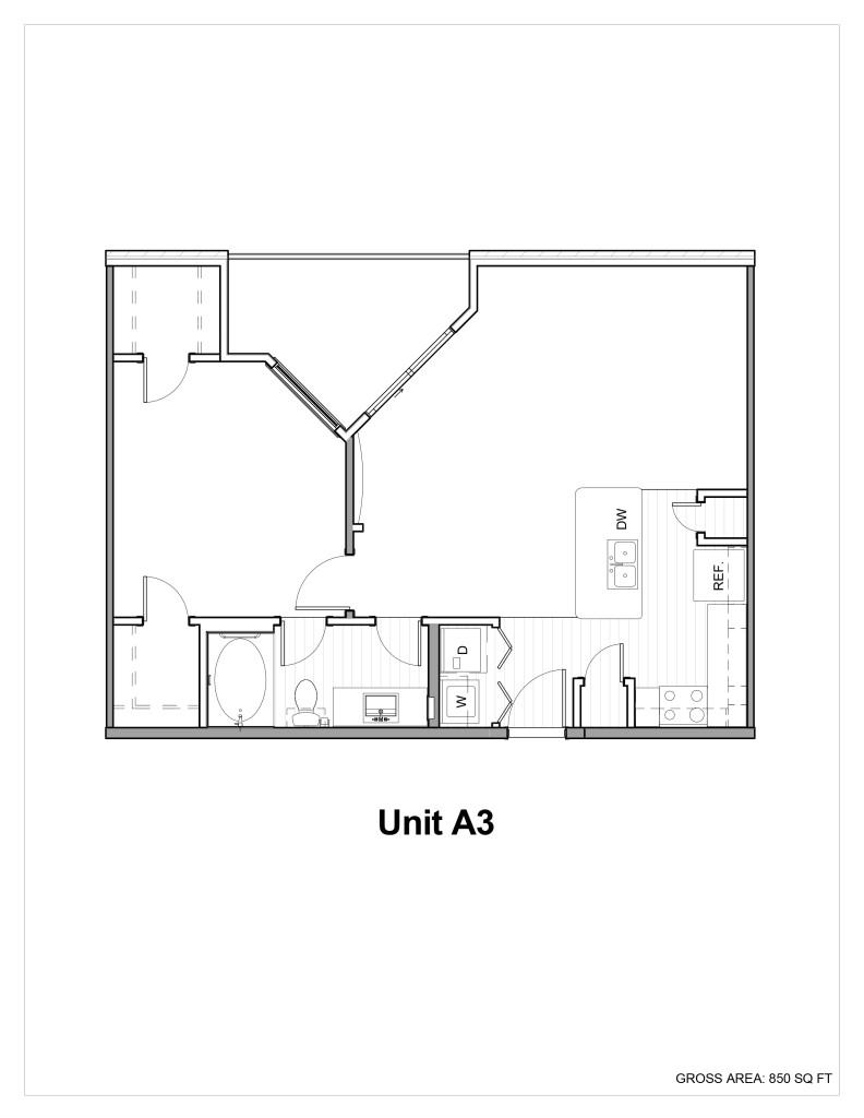 850 sq. ft. A3 floor plan