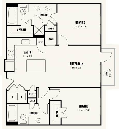 1,011 sq. ft. B1 floor plan