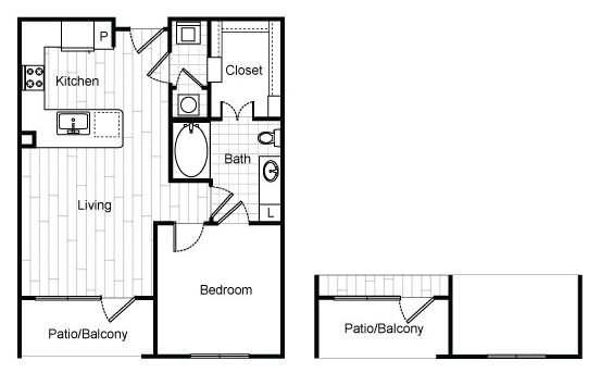 682 sq. ft. A0 floor plan