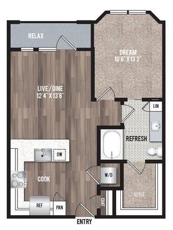 682 sq. ft. A1.5 floor plan