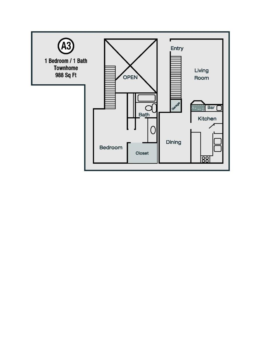 988 sq. ft. A3 floor plan