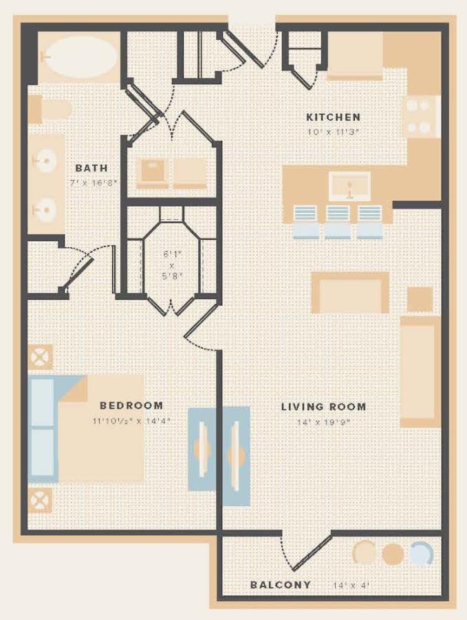 806 sq. ft. A11 floor plan