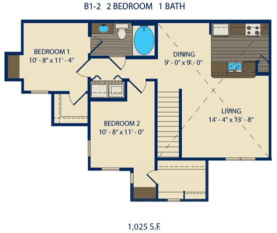 751 sq. ft. GILMORE floor plan