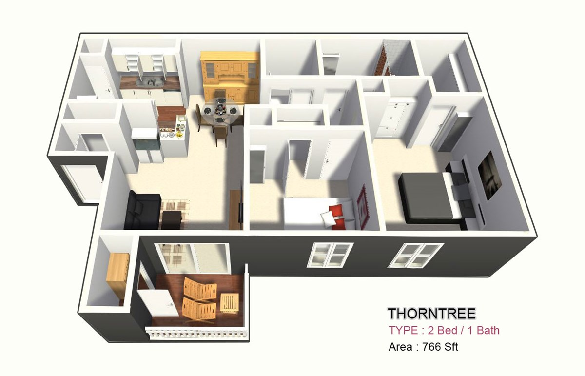 766 sq. ft. C floor plan