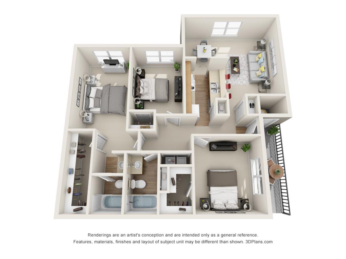 1,083 sq. ft. C2 floor plan