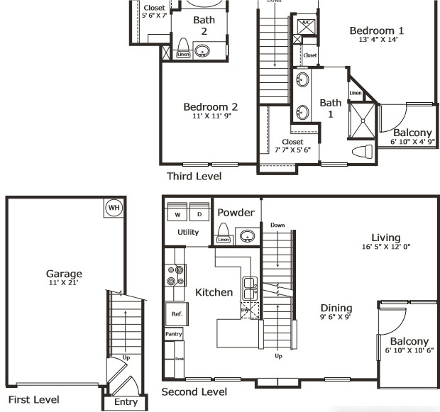 1,320 sq. ft. B6G floor plan
