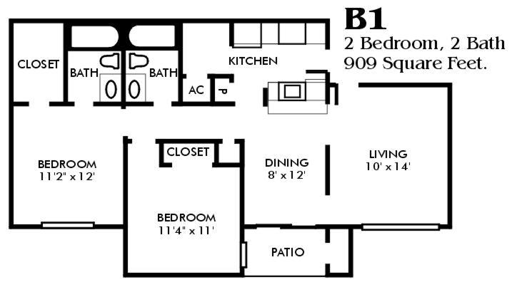 909 sq. ft. B1/Mkt floor plan